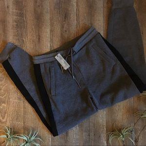 Charcoal & Black Tie Sweatpants Joggers Comfy Cozy